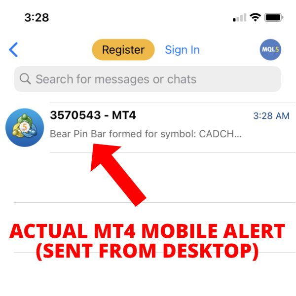 MT4 mobile app alert example